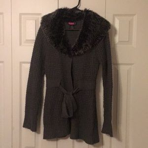 Sweaters - Gray Faux Fur Collar Button Up Sweater